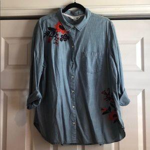 Old Navy XXL Embroidered Denim Shirt